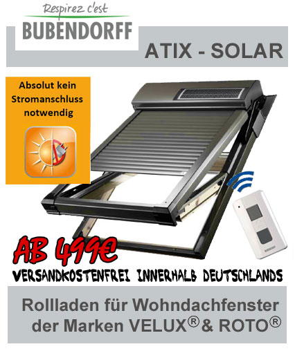 atix velux rollladen roto rolladen rolll den dachfensterrolladen. Black Bedroom Furniture Sets. Home Design Ideas