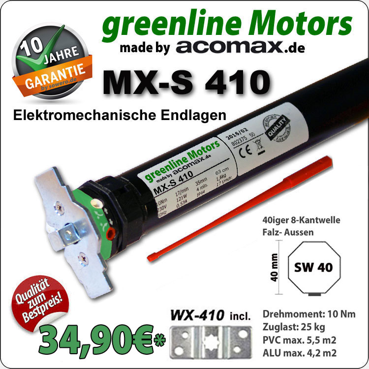 Rollladenmotor MX-S-410 greenline 10Nm - 230V / 50HZ