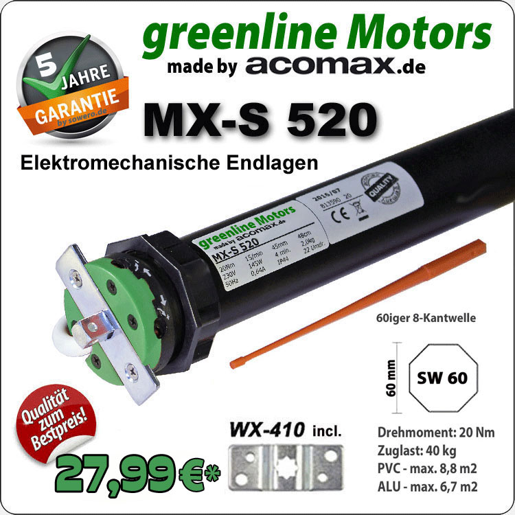 Rolladenmotor MX-S 520 greenline 20Nm - 230V / 50HZ