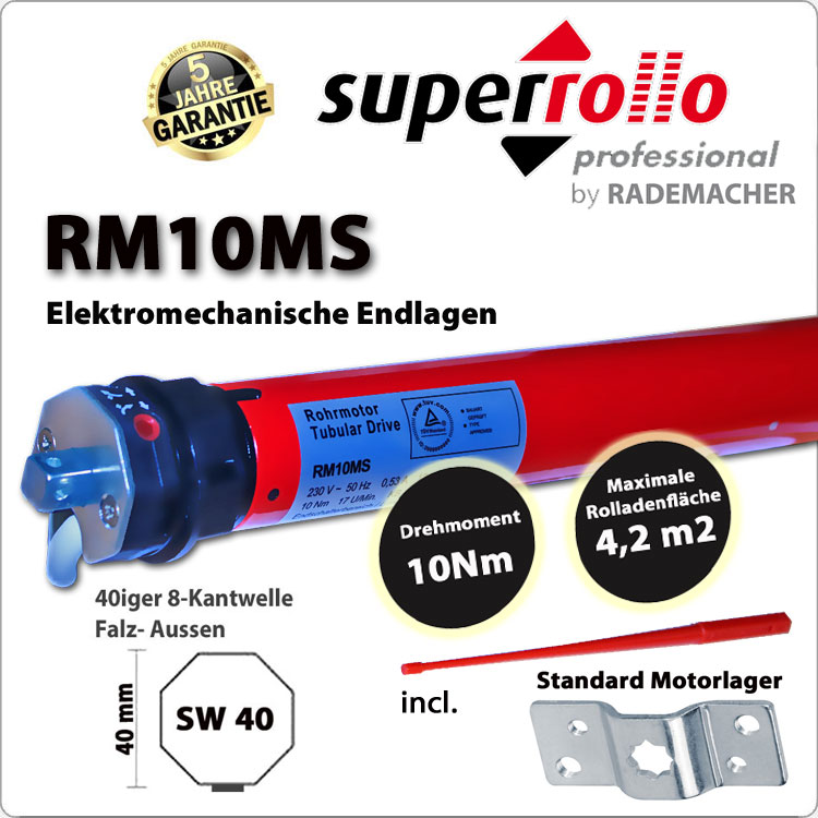 Superrollo Rollladenmotor RM10MS 10Nm - 230V / 50HZ