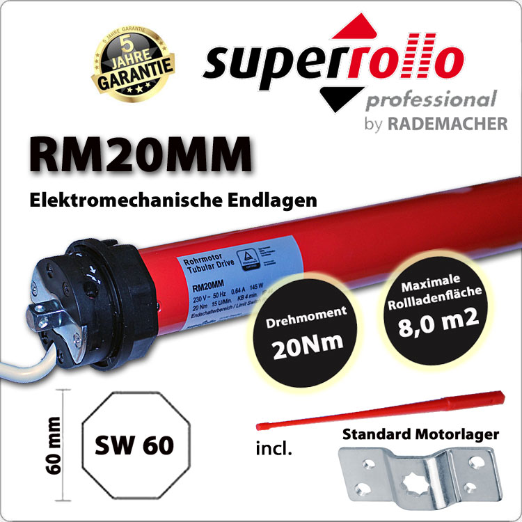Superrollo Rollladenmotor RM20MM 20Nm - 230V / 50HZ