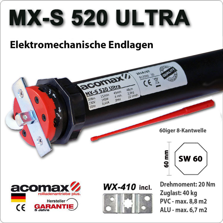 ACOMAX Rohrmotor MX-S 520 Ultra 20Nm - 230V / 50HZ